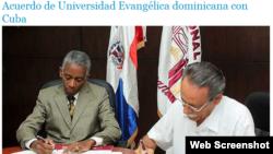 Firma de convenio entre Universidad Nacional Evangélica de RD e Instituto de Investigación Fundamentales de Agricultura Tropical de Cuba por la cultura científica y la investigación.