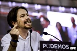 """El líder de Podemos, Pablo Iglesias, interviene en la reciente Asamblea Ciudadana """"Sí Se Puede""""."""
