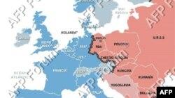 Mápa del Telón de Acero que dividió Europa durante la Guerra Fría entre 1952 y 1989
