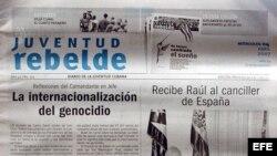 Portada del diario oficial Juventud Rebelde.