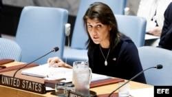 Nikki Haley en la reunión del Consejo de Naciones Unidas en relación a las sanciones contra Corea del Norte.