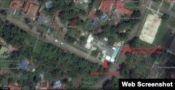 Imagen de satélite que muestra la remodelación de la casa de Mariela Castro.