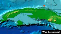 Movimiento telúrico frente a la costa norte de Cuba.