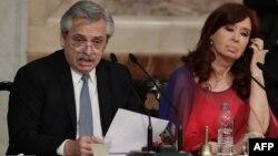 El presidente Alberto Fernández (izquierda) y la vicepresidenta Cristina Fernández de Kirchner, en una foto tomada el 1ro de marzo en la apertura del 138 periodo de sesiones del Congreso de Argentina (Foto: Alejandro Pagni/AFP).