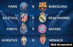 Los ocho clubes sobrevivientes de la Champions.