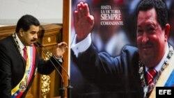 - El presidente de Venezuela, Nicolás Maduro (i), habla hoy, martes 8 de octubre del 2013, frente a la Asamblea Nacional Venezolana en Caracas (Venezuela).