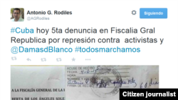 Reporta Cuba Entregan denuncia Fiscalía Twitter AGRodiles