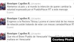 Twitter de Capriles.