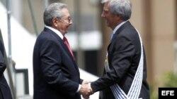 Raúl Castro saluda a Yabaré Vázquez al término de la ceremonia de traspaso de mandato en la Plaza de la Independencia de Montevideo, Uruguay.