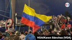 Manifestaciones pacíficas en el día número 15 del paro nacional en Colombia. Portal del Norte, en Bogotá, Colombia, el miércoles 12 de mayo de 2021. Foto: VOA/Karen Sánchez.