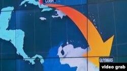 Migrantes van de Cuba a Guyana con visa de turista, de ahí atraviesan Venezuela o Brasil, para llegar a Colombia y luego saltar a Panamá (mapa RCN).