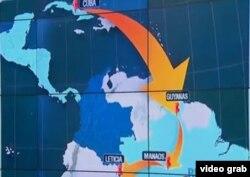 Migrantes van de Cuba a Guyana con visa de turista, de ahí a Manaos, Brasil, y por barco a Leticia, en la amazonia colombiana (mapa RCN).