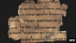 """Fotografía facilitada por la Autoridad de Antigüedades de Israel de uno de los manuscritos incluídos en la """"Biblioteca Digital de los Manuscritos del Mar Muerto""""."""