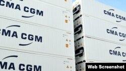 Contenedores de la empresa francesa de transporte marítimo CMA-CGM.