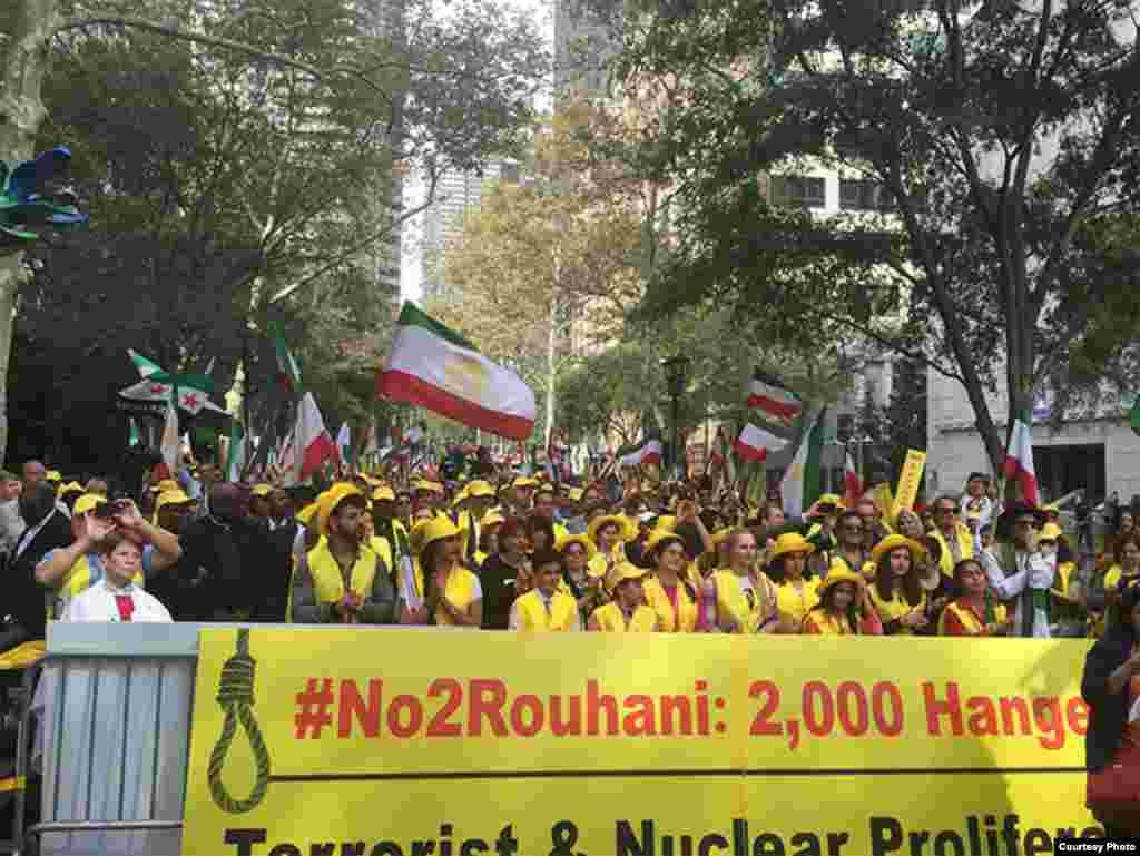 Miles de iraníes contra la presencia del mandatario en la ONU.