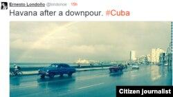 Aguacero en La Habana. Foto: @londonoe.