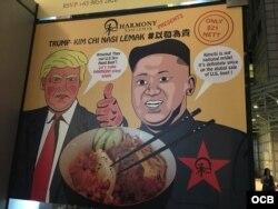 La comida en Singapur adopta la temática de la Cumbre Trump-Kim. Foto Alvaro Alba