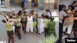 Combo de imágenes muestran la represión contra las Damas de Blanco este domingo en La Habana. (Fotos: Angel Moya)