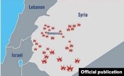 Mapa que detalla los objetivos de la respuesta israelí contra el lanzamiento de 20 misiles a su territorio por parte de la Guardia Revolucionaria iraní en Siria (IDF)
