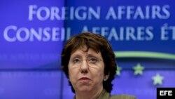 La responsable de Política Exterior de la Unión Europea (UE), Catherine Ashton, ofrece rueda de prensa.