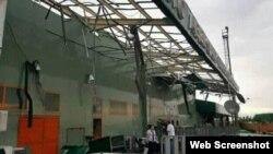Tomenta provoca daños en Aeropuerto Internacional Abel Santamaria Santa Clara. Foto Perfil Facebook Juan Ariel Toledo Guerra