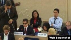 Juan Carlos González Leiva, opositor y abogado invidente interviene ante la ONU.