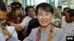 La líder opositora y Premio Nobel de la Paz birmana, Aung San Suu Kyi.