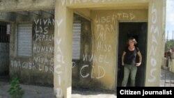 Reporta Cuba. Olga Boffill Viera, protesta por la libertad de su hijo. Foto: José Ernesto.