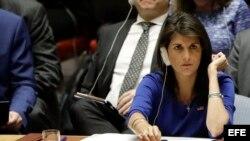 Nikki Haley en una reunión del Consejo de Seguridad de ONU sobre la situación en Siria.