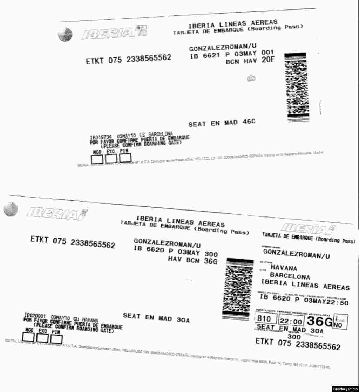Tarjetas de embarque de Urbano González en vuelo de Iberia.