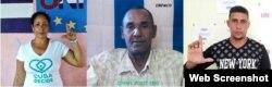Aymara Nieto Muñoz (izq.), Ismael Boris (centro) y Eliecer Góngora (der.) activistas de UNPACU y promotores de Cuba Decide.