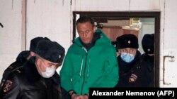 Alexei Navalny en la estación policial de Khimki, el 18 de enero de 2021. (Alexander Nemenov/AFP).