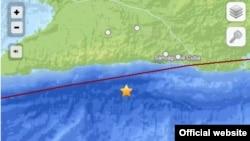 La estrella marca el epicentro del sismo de 4,2 grados que fue perceptible en la costa sur del oriente de Cuba (USGS).