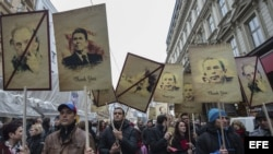 Manifestación en Praga con motivo del 25 aniversario de la Revolución de Terciopelo (17 de noviembre, 2014).