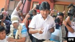 El presidente de Bolivia, Evo Morales, en el día de las elecciones.