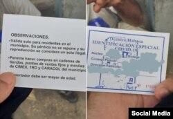 Identificación especial para compras durante la pandemia en Cuba.