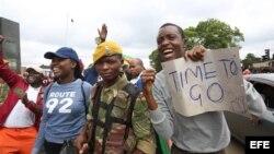 Celebran caída de Mugabe.