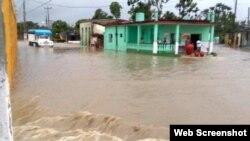 Sancti Spíritus bajo el agua tras el paso de la tormenta subtropical Alberto. (Foto: Escambray)