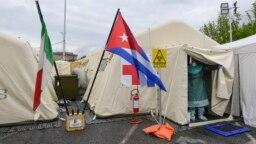 El hospital provisional en Crema, al sureste de Milán, en el que laboraron médicos cubanos enviados a combatir el coronavirus en Italia. (Miguel Medina/AFP)