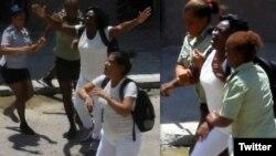 Agentes de la policía política reprimen a las Damas de Blanco frente a la sede de la organización opositora, en Lawton, La Habana. (Foto: Ángel Moya)