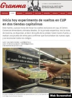 """La nota del periódico Granma sobre el """"experimento""""."""