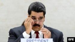 El presidente de Venezuela, Nicolás Maduro, durante su intervención en el Consejo de Derechos Humanos de la ONU. EFE