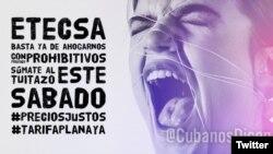 """Campaña """"Bajen los precios de Internet"""" en Cuba."""