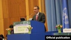 Arreaza en el 62 periodo de sesiones de la Comisión de Estupefacientes de la ONU en Viena. Tomado de la Cancillería de Venezuela.
