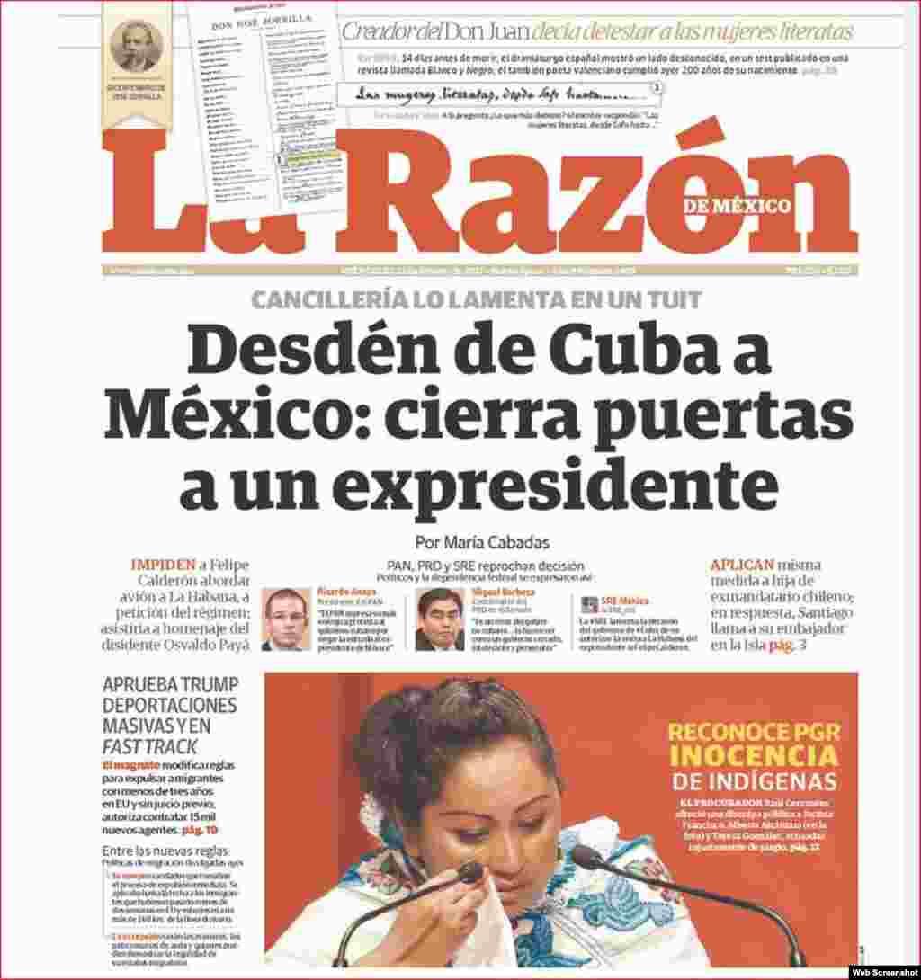Diario La Razón titula: Desdén de Cuba a México: cierra puertas a un expresidente
