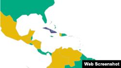En códigos de colores Cuba destaca en azul (no libre) entre países libres (verde) y parcialmente libres (amarillo) en el mapa de la libertad 2015 de Freedom House.
