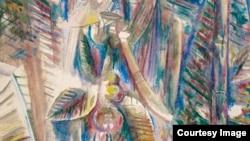 La obra Omi Obini, 1943, del pintor cubano Wilfredo Lam.