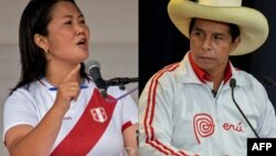 Keiko Fujimori y Pedro Castillo, candidatos a la presidencia de Perú en un montaje de imágenes realizado por AFP
