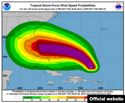 Las probabilidades de velocidad de los vientos en una de las gráficas del parte de las 5 pm del jueves.