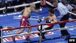 Sergio 'Maravilla' Martínez cae al piso durante la pelea con Miguel Cotto